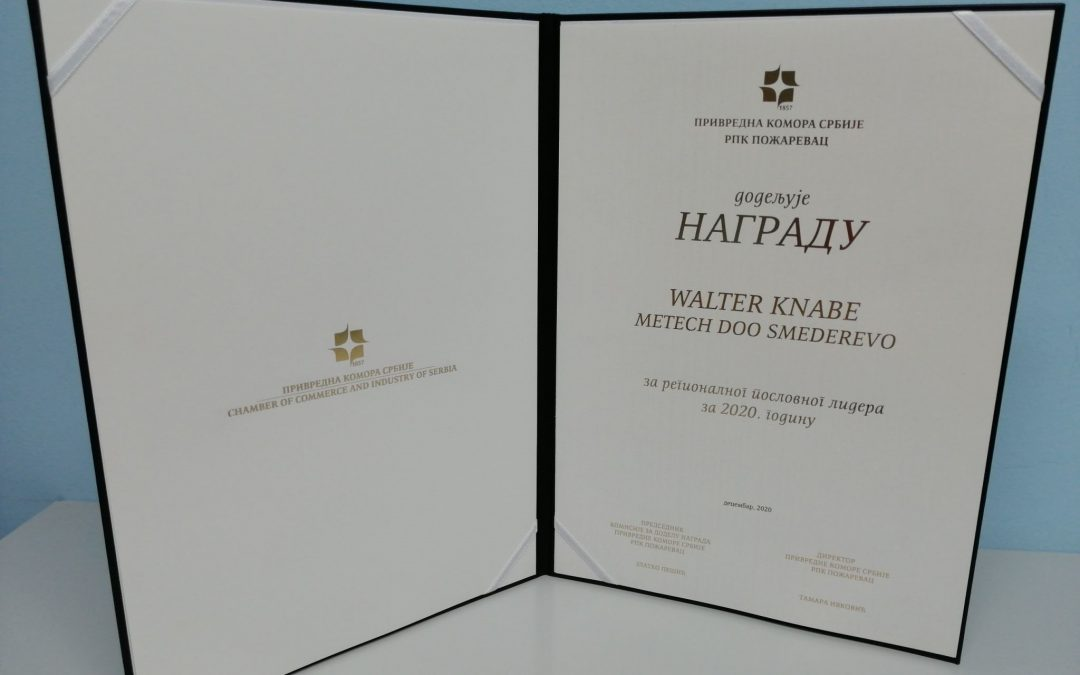 BSBA Members News: Walter Knabe, Metech, Receives Chamber of Commerce and Industry of Serbia Award for Regional Business Leader in 2020